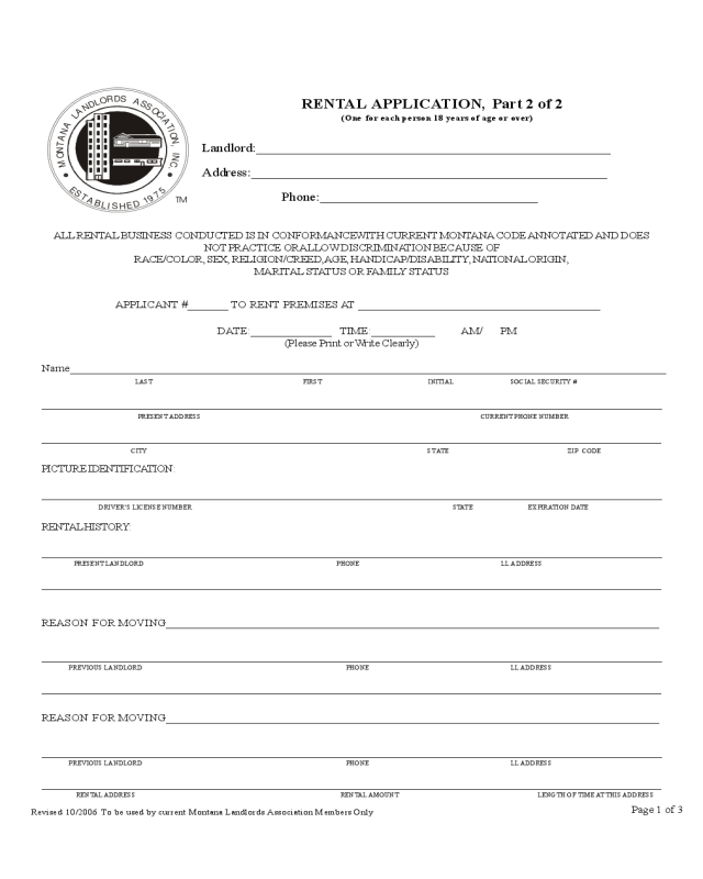 1 page rental application form