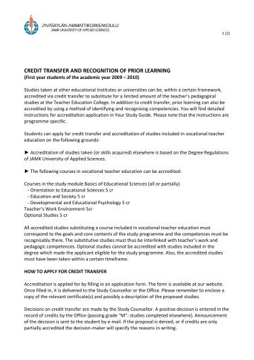 recognition of prior learning rpl application