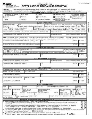 application for registration of motor vehicle