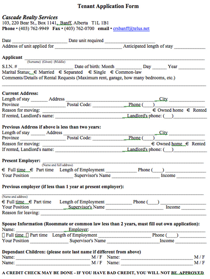 residential tenancy application form template