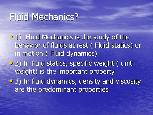 fluid mechanics applications in engineering