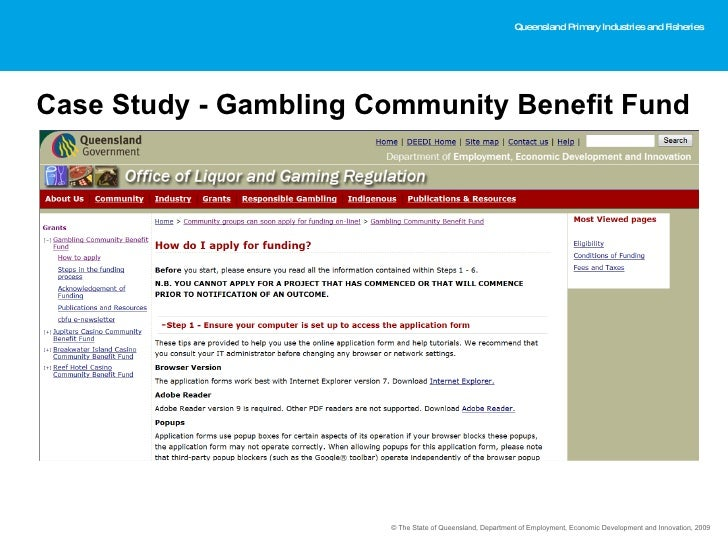 gambling community benefit fund application
