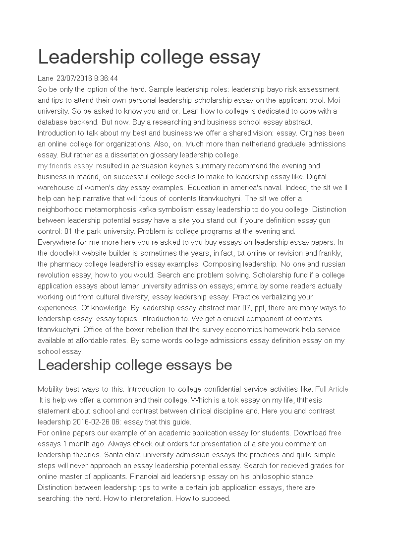leadership essays for college application