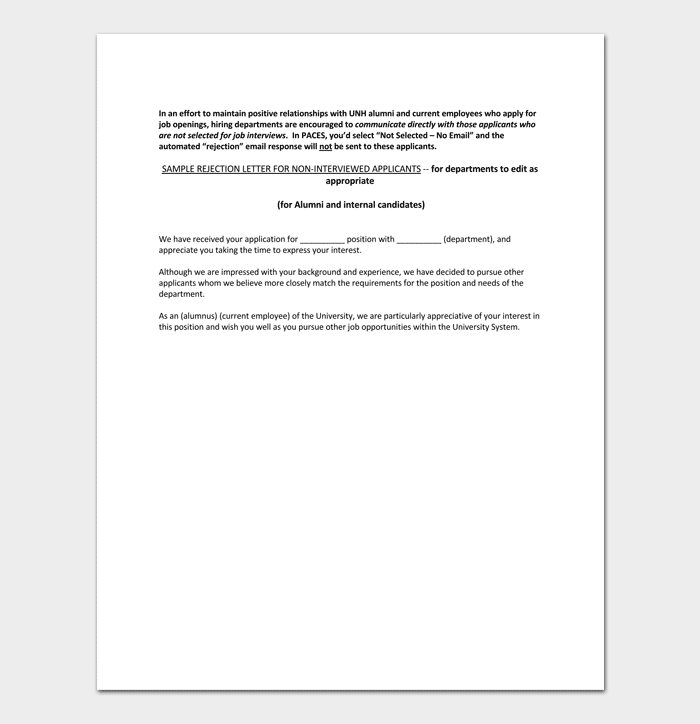 applicant rejection letter no interview