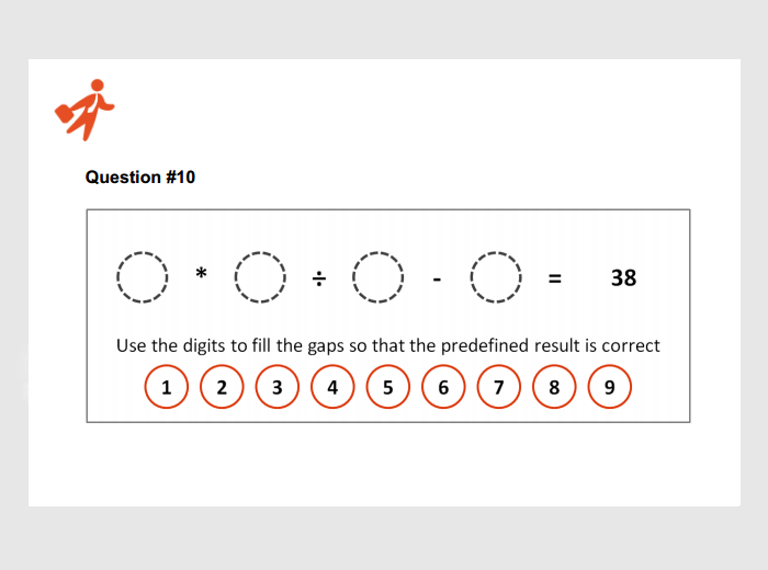 simple math test for job applicants