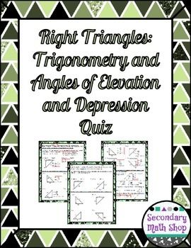applications of right triangle trigonometry angles of elevation and depression