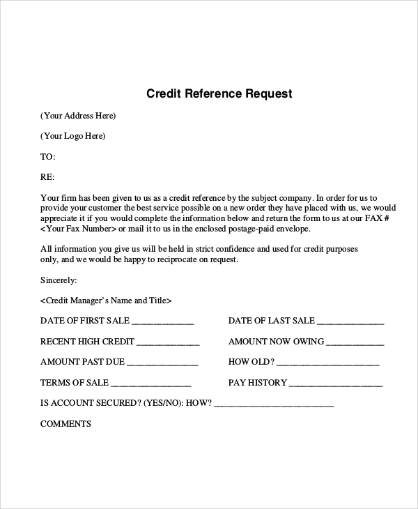 credit application form word document