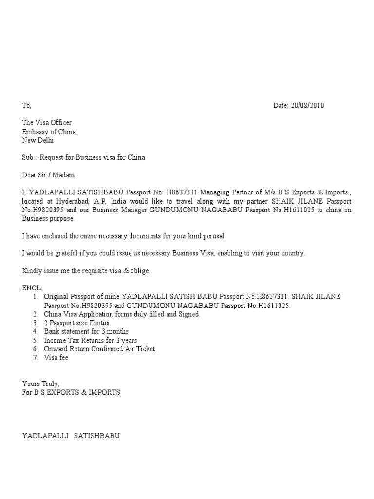 covering letter format for tourist visa application
