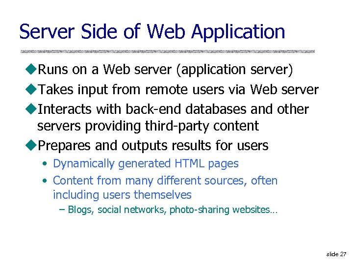 difference between webserver and application server ppt