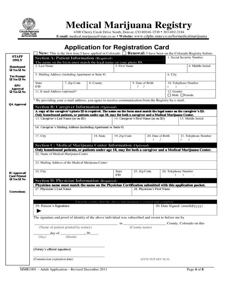 application form for state health card
