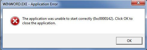 the application was unable to start correctly 0xc0000142 office
