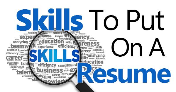 skills to put down on a job application