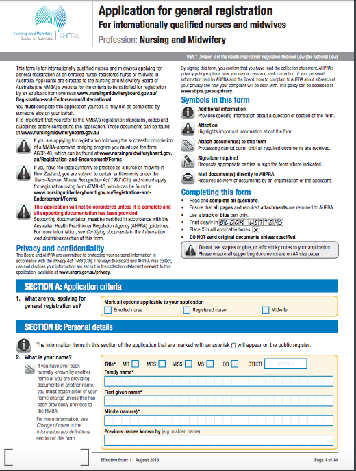 ahpra nursing registration application form