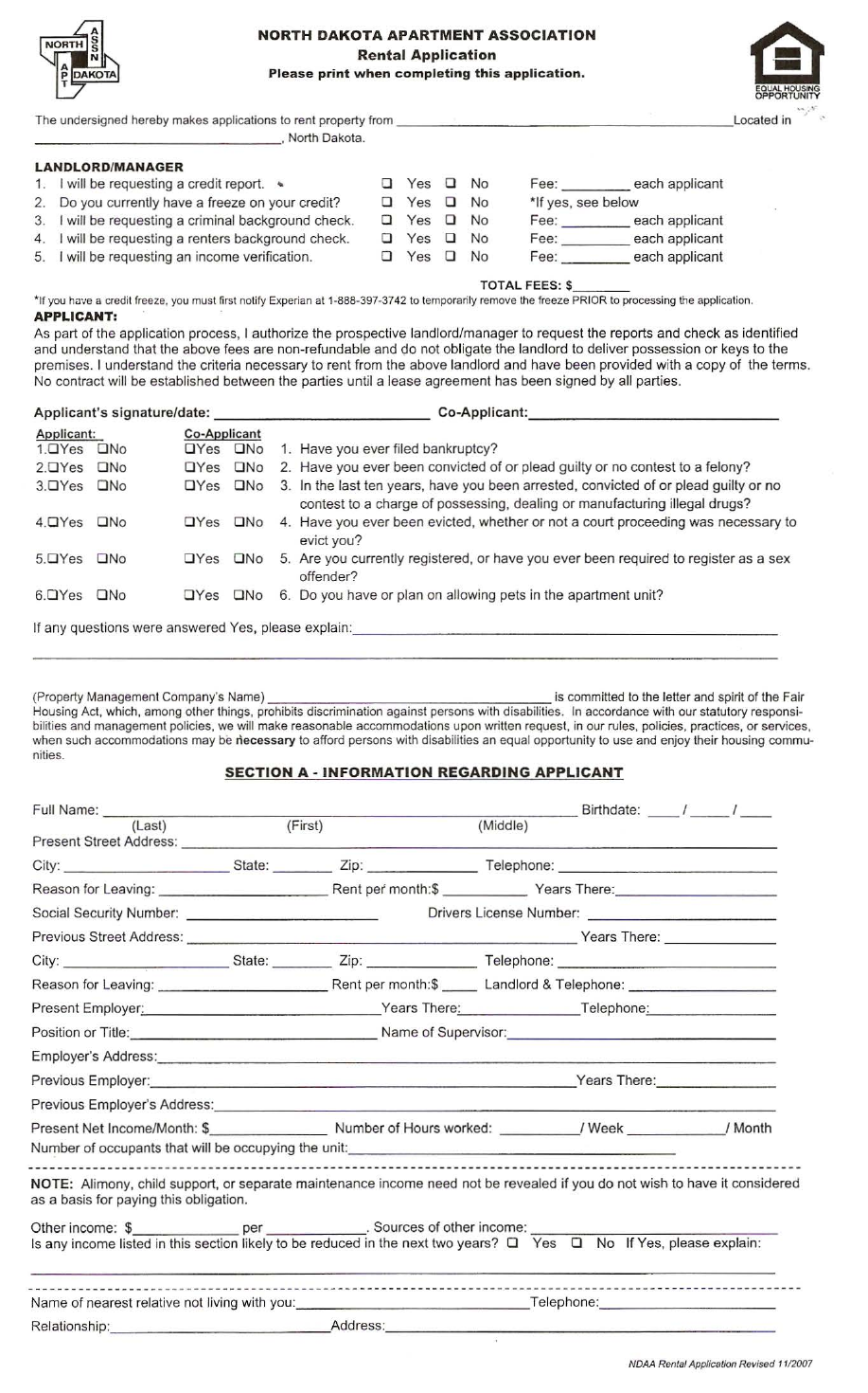 apartment owners association rental application