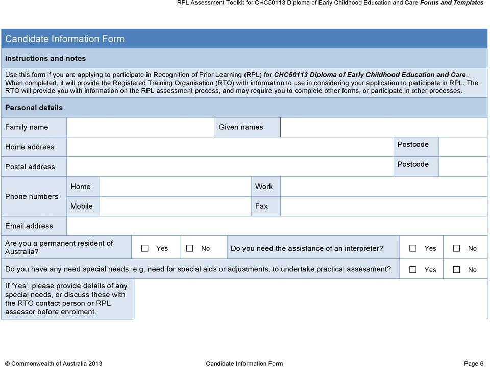 application form for permanent residency in australia