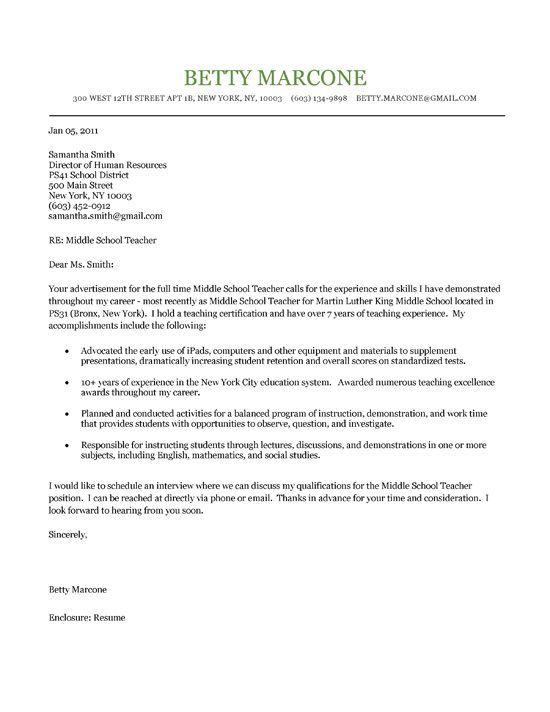 application letter for employment as a teacher