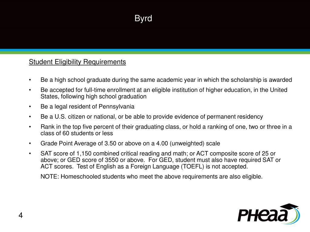 robert c byrd scholarship application