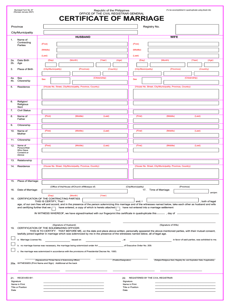 certificate of no marriage online application