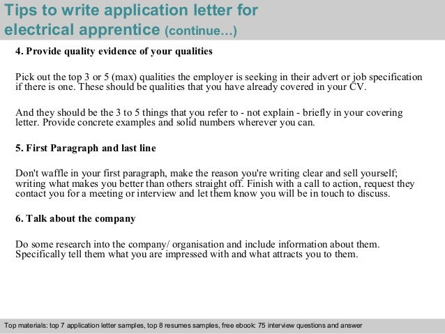 how to write application for apprenticeship training