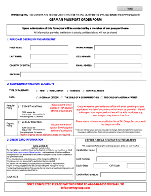 submission of passport application form