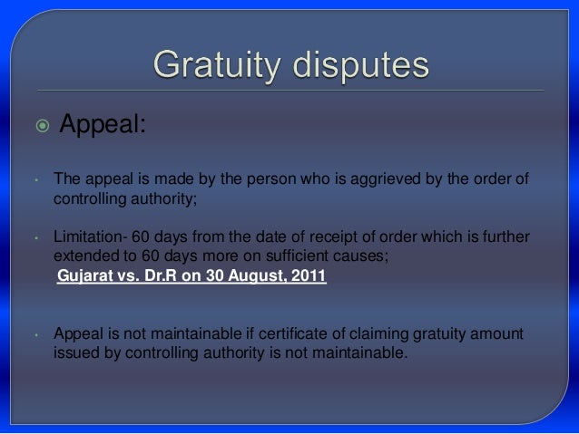 application for gratuity by an employee