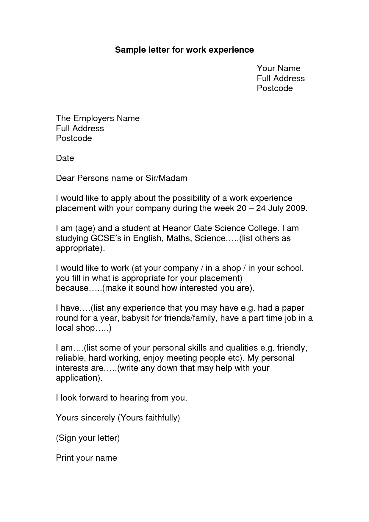 how to write a work experience application