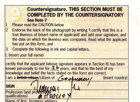 irish passport application witness stamp