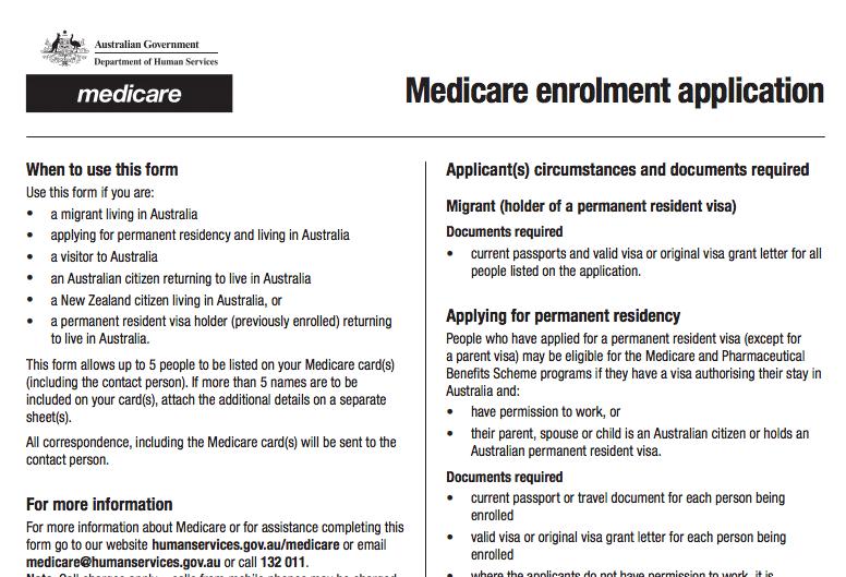 medicare enrolment application form 3101