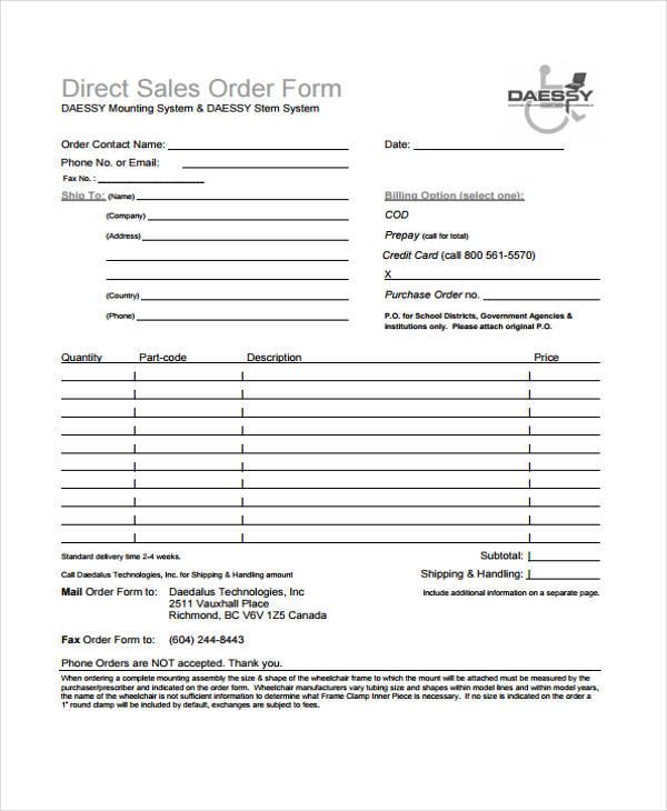 order for sale application form