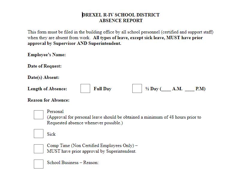 school sick leave application sample