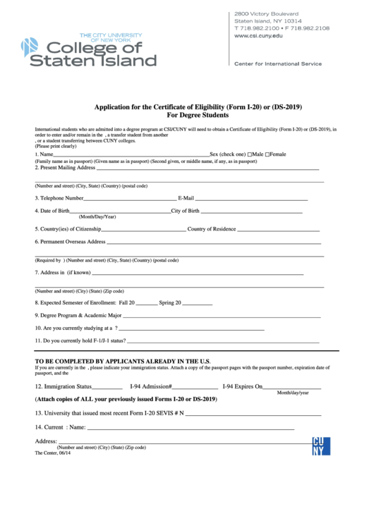 sevis form i 20 application