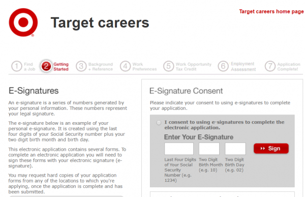 target application status under review