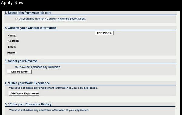 victoria secret job application form
