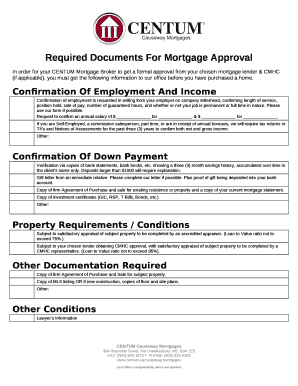 what do you need for a mortgage application