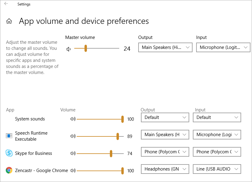 windows 10 change audio output device per application